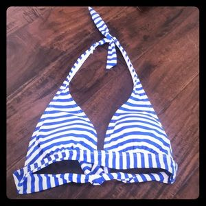 New blue and white striped bikini top